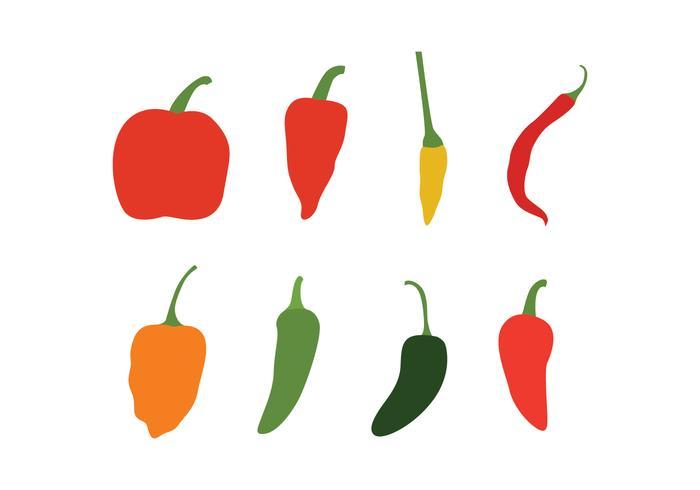 Pimentão, pimentas, vetorial, pacote vetor