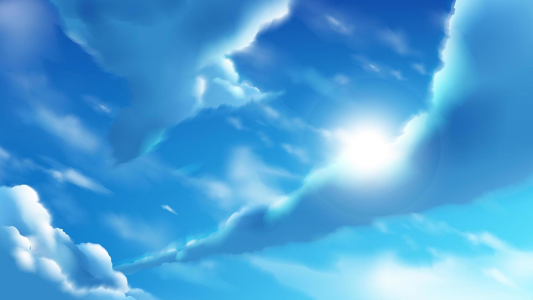 nuvens de anime no céu azul brilhante vetor