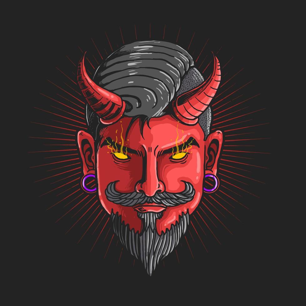 gráfico da cabeça do diabo vetor