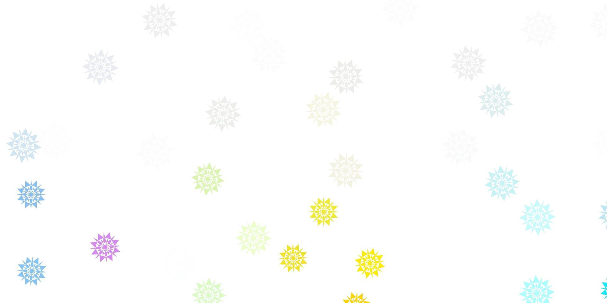 cenário multicolor de lindos flocos de neve vetor