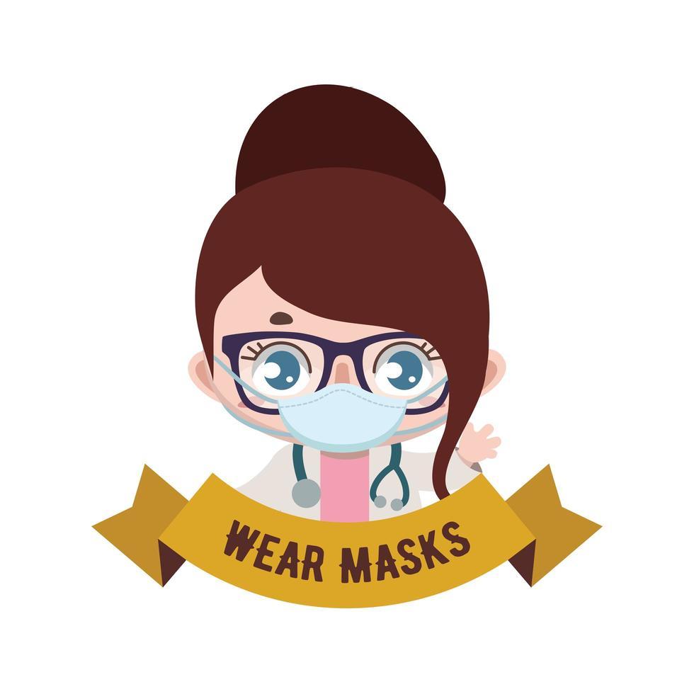 médica e banner com mensagem de máscaras de uso vetor