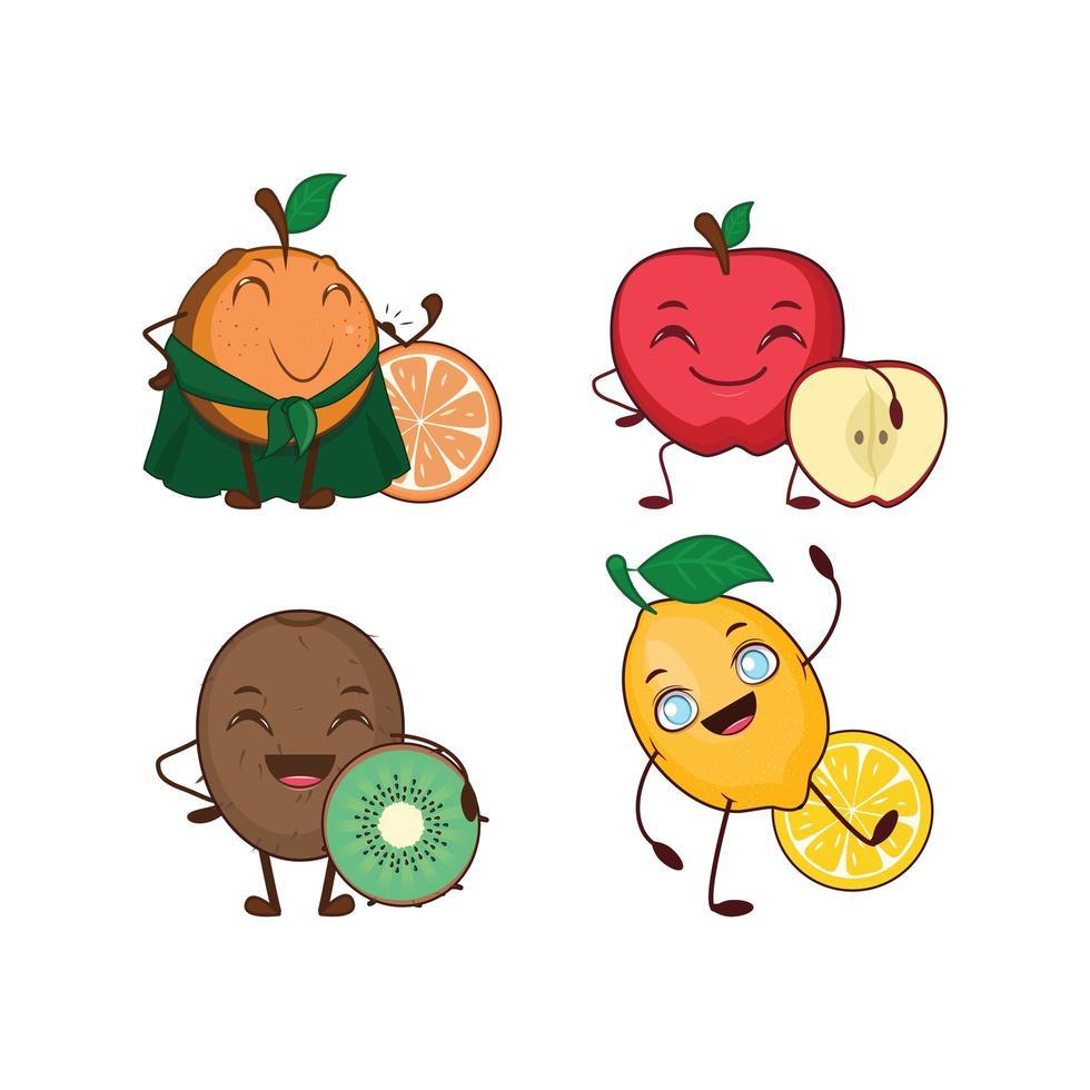 coleção de frutas saudáveis de desenho animado vetor