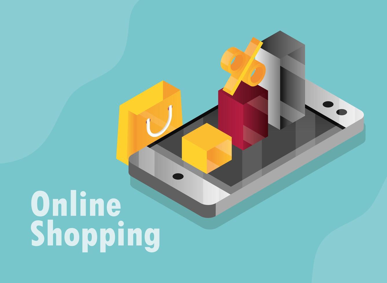 composição isométrica de compras online e comércio eletrônico vetor