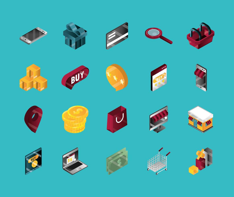 conjunto de ícones isométricos de compras online e e-commerce vetor