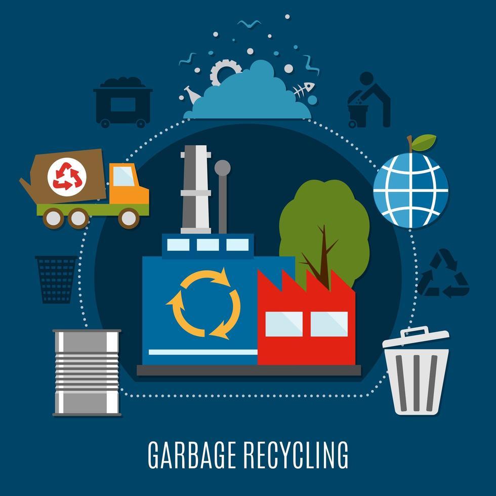 gráfico de descarte de lixo vetor