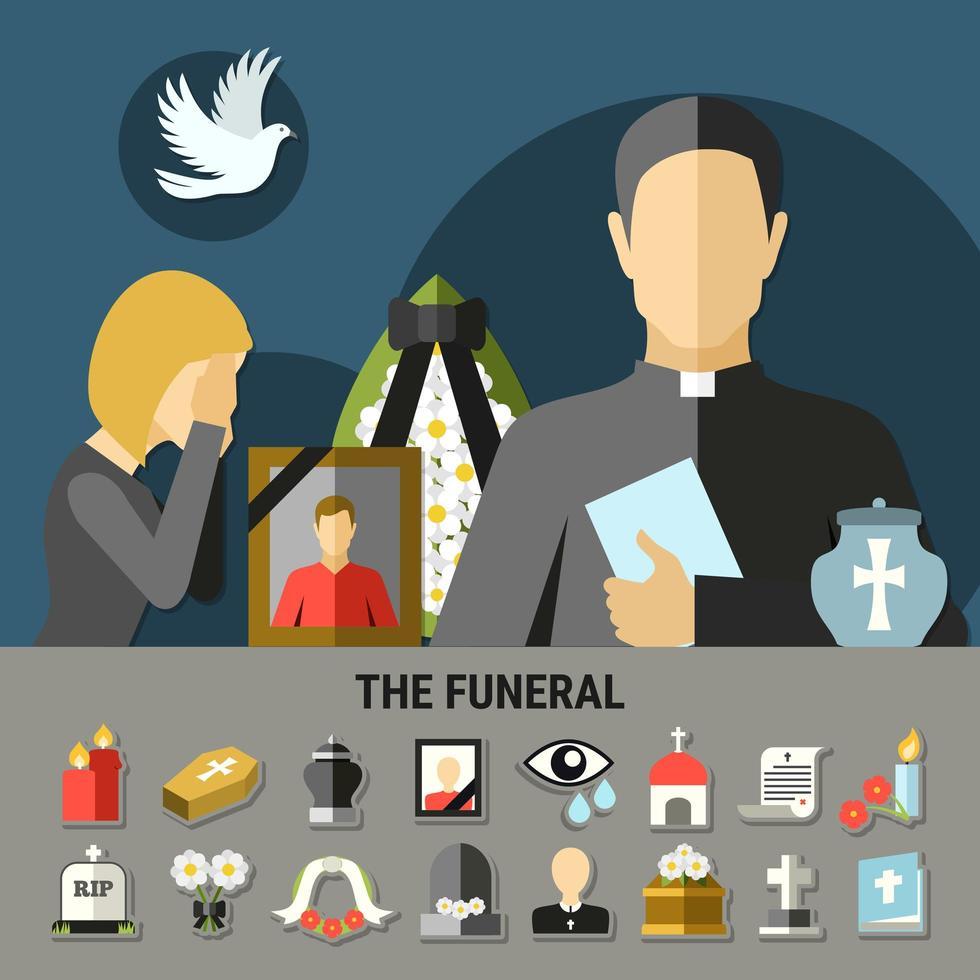 conjunto de ícones e banner para funeral e luto vetor