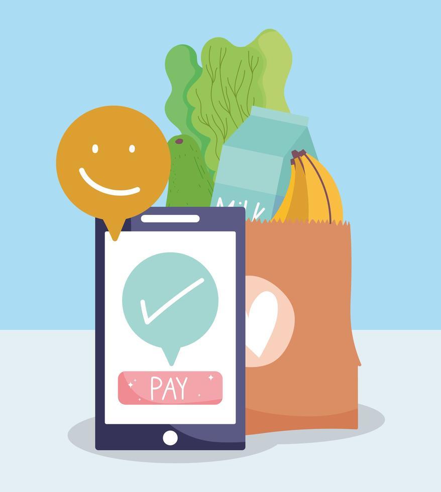 composição do mercado online com frutas e vegetais frescos vetor