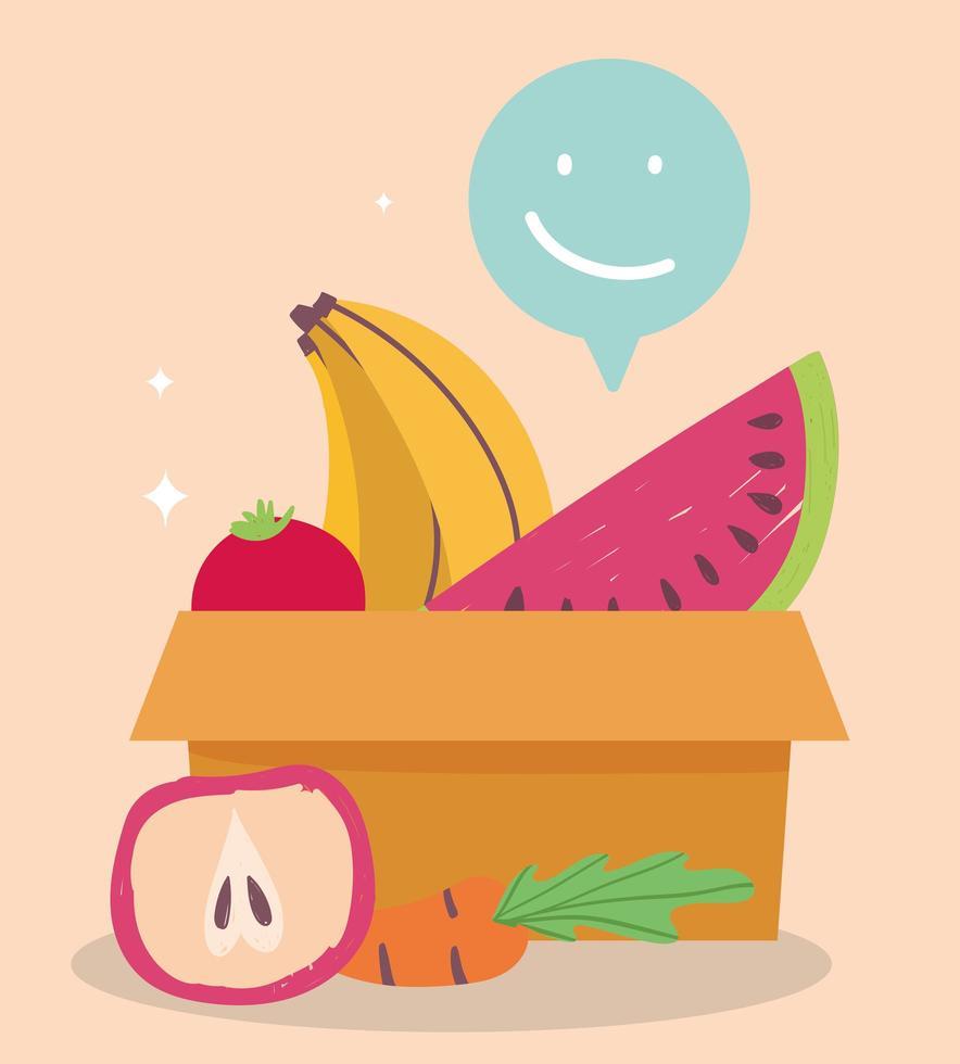 mantimentos frescos com frutas e vegetais vetor