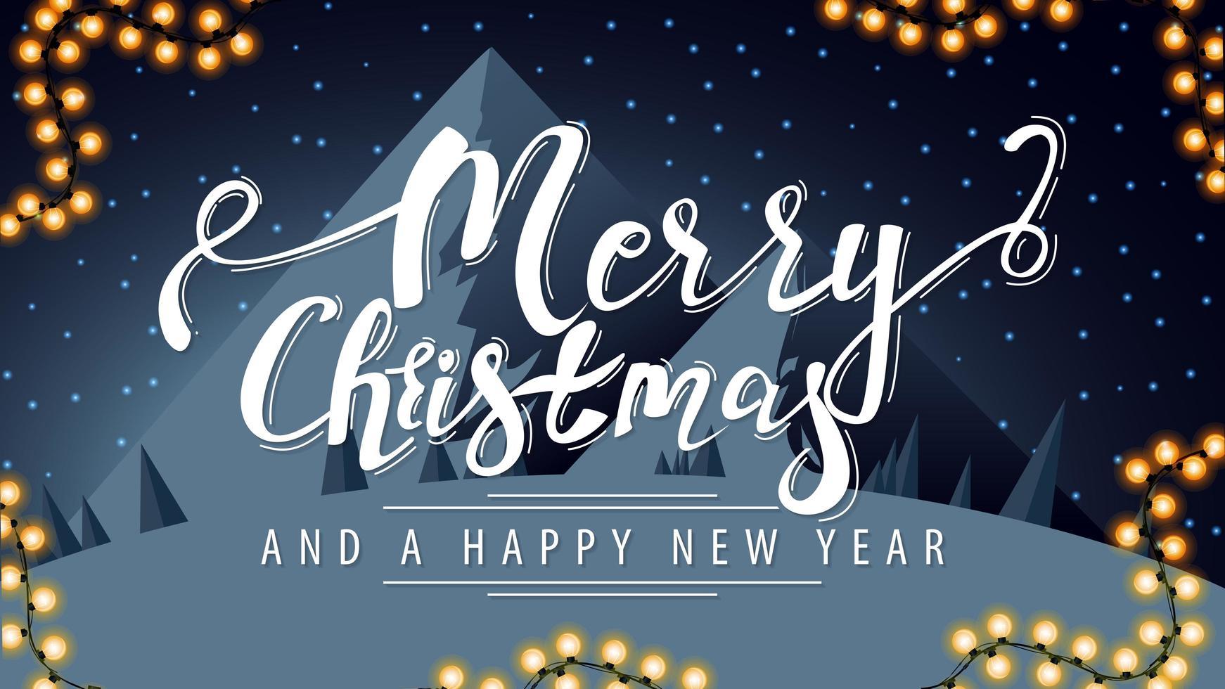 Feliz Natal, saudação postal com letras brancas vetor