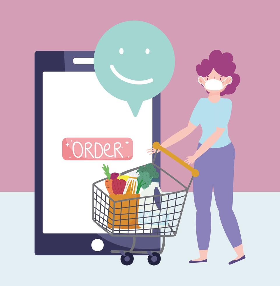 banner de mercado online com mulher e carrinho de compras vetor