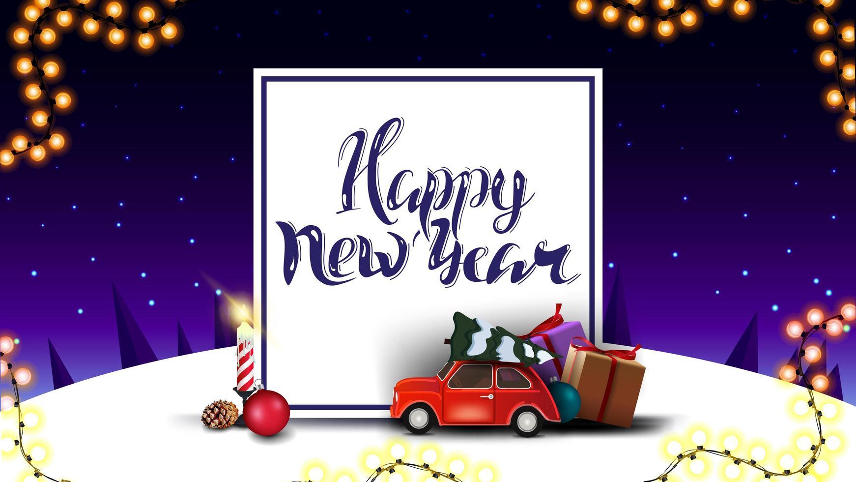 feliz ano novo postal roxo vetor