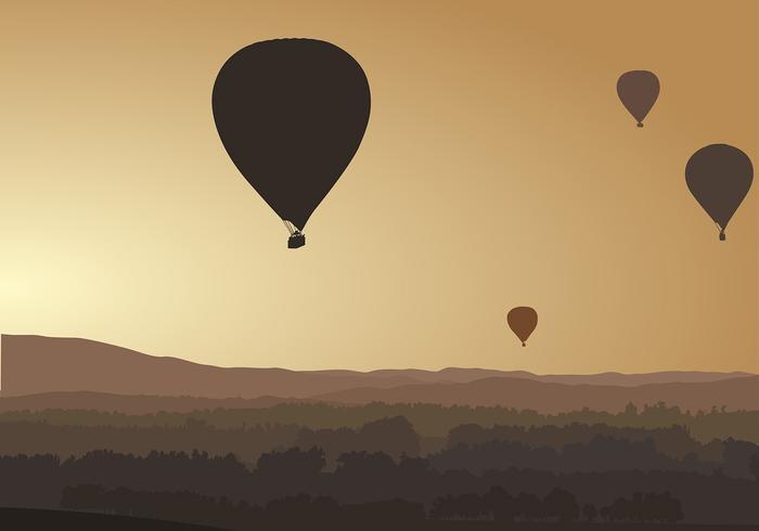 Balão de ar quente silhueta vector livre