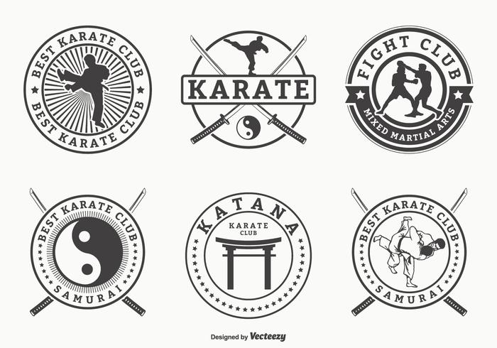 Artes marciais retros e emblemas do vetor do karaté