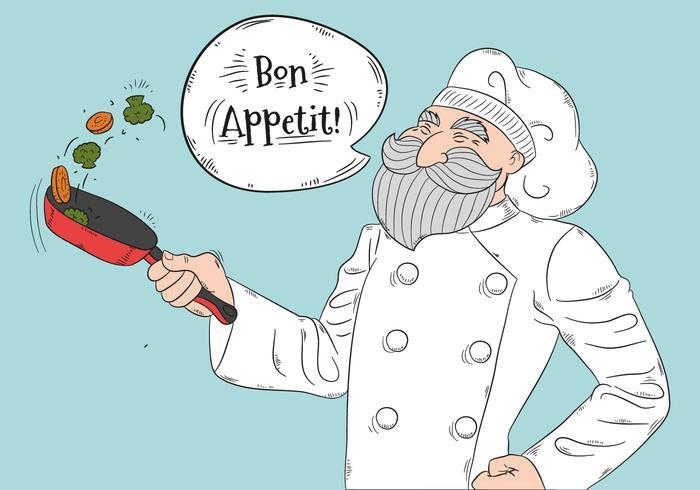 Cozinheiro chefe idoso bonito que cozinha vegetais e que sorri vetor