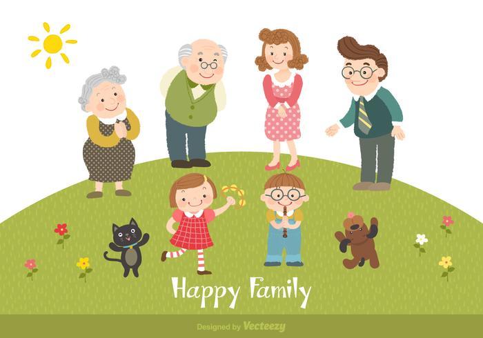 Ilustração vetorial família feliz desenhos animados vetor