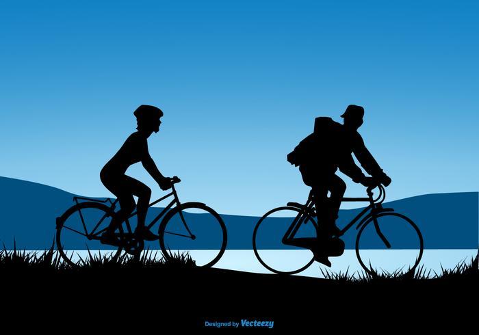 Silhueta Design De Um Casal Riding Bicycles vetor