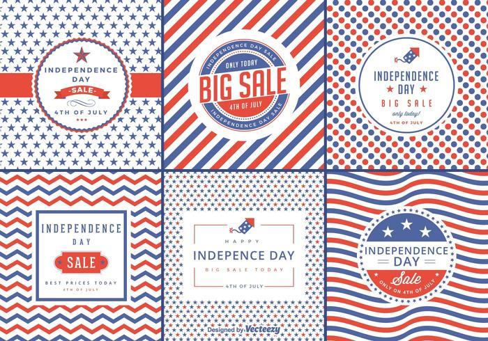Etiquetas do vetor da venda do Dia da Independência