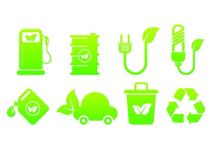Conjunto De Ícones Biodegradáveis vetor