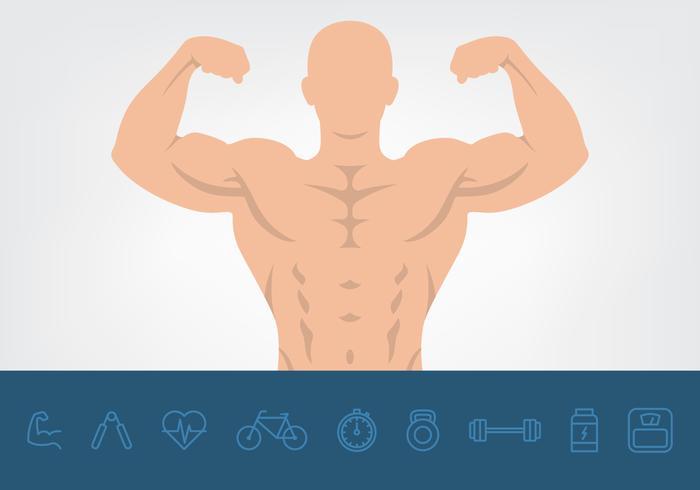 Músculo, saúde, ícones, jogo vetor