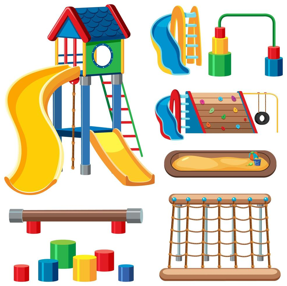 conjunto de playground infantil no parque vetor