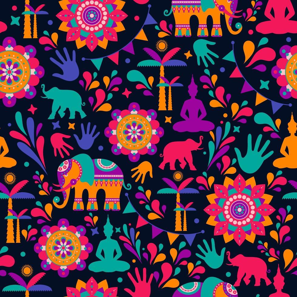 feliz festival de holi, elementos coloridos vetor