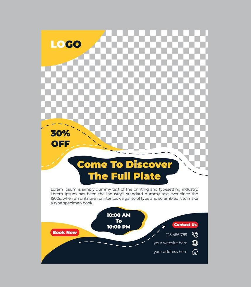 modelo de design criativo de panfleto de comida vetor