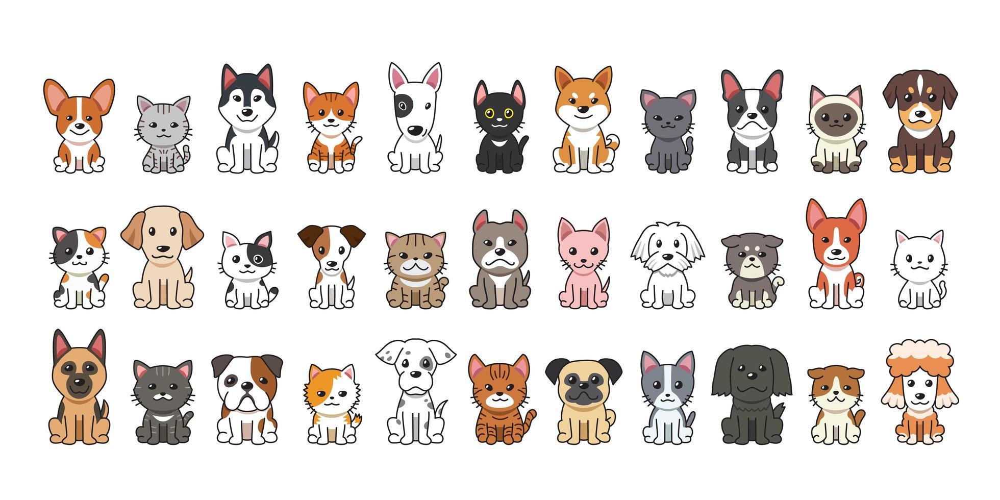 gatos e cachorros de desenho animado vetor