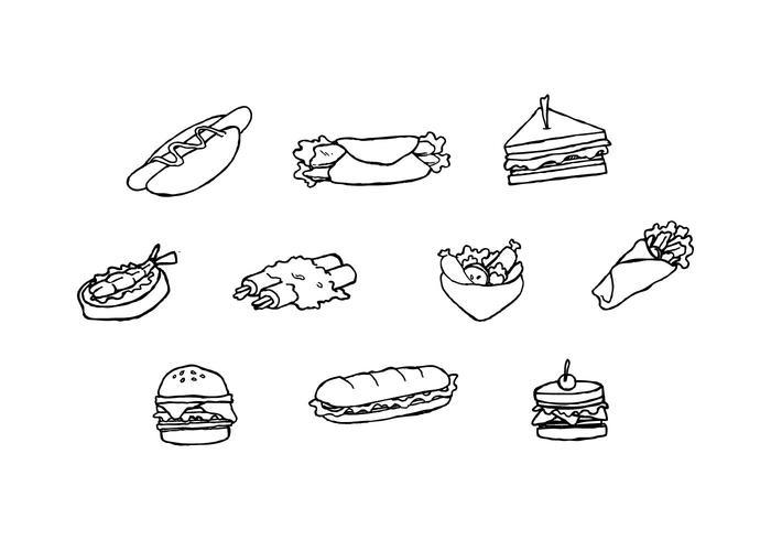 Vector de esboço de coleção de sanduiche grátis