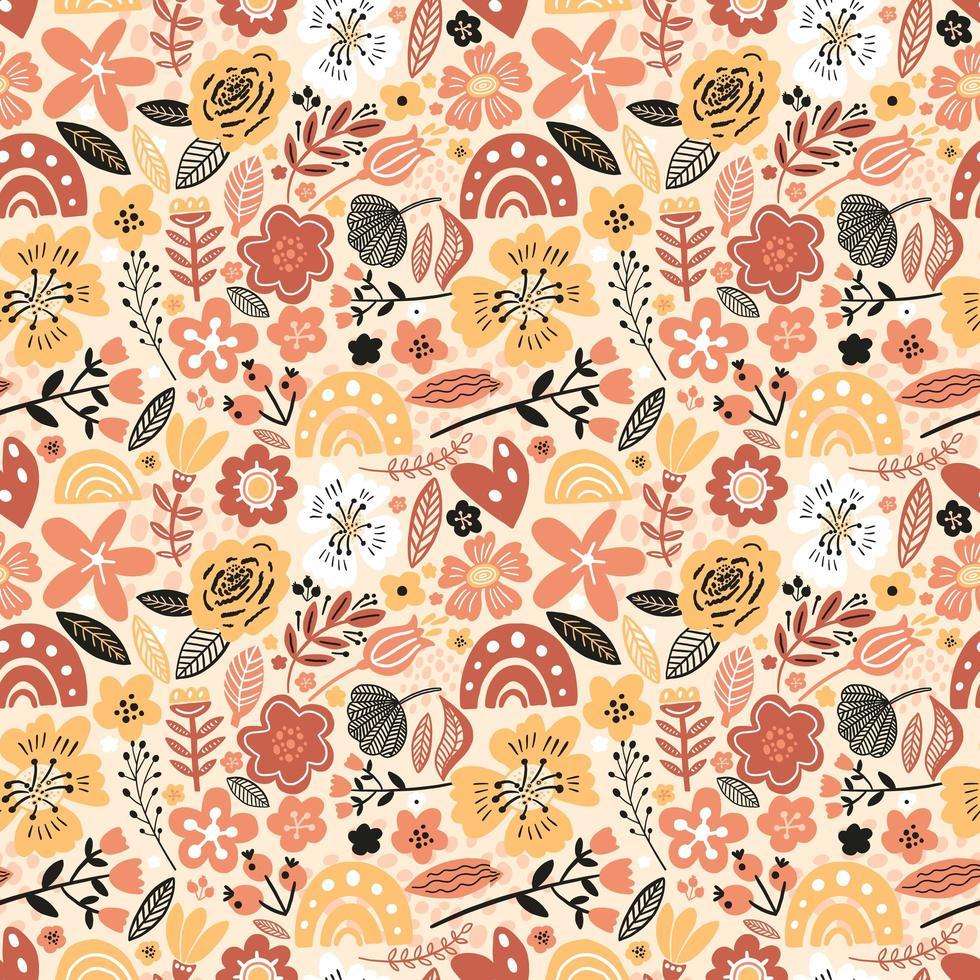 outono floral padrão sem emenda vetor