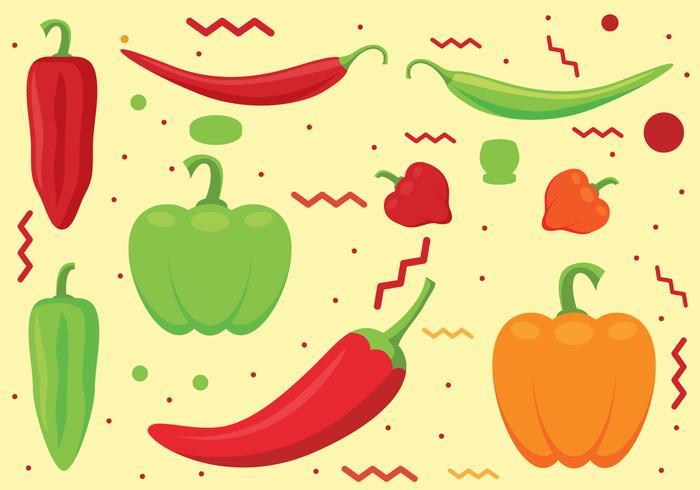 Conjunto de vetores de pimenta e pimenta