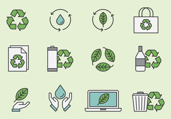 Reciclagem e ícones ambientais vetor