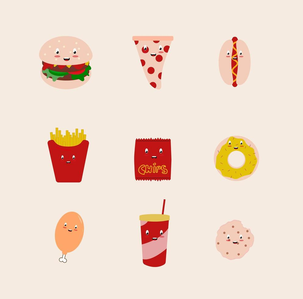 conjunto kawaii junk food vetor