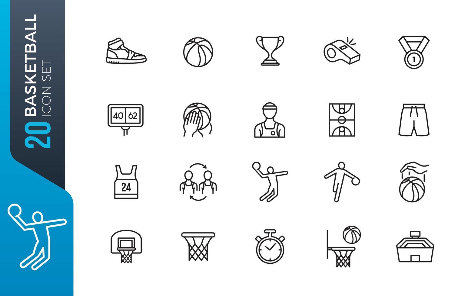 conjunto mínimo de ícones de basquete vetor