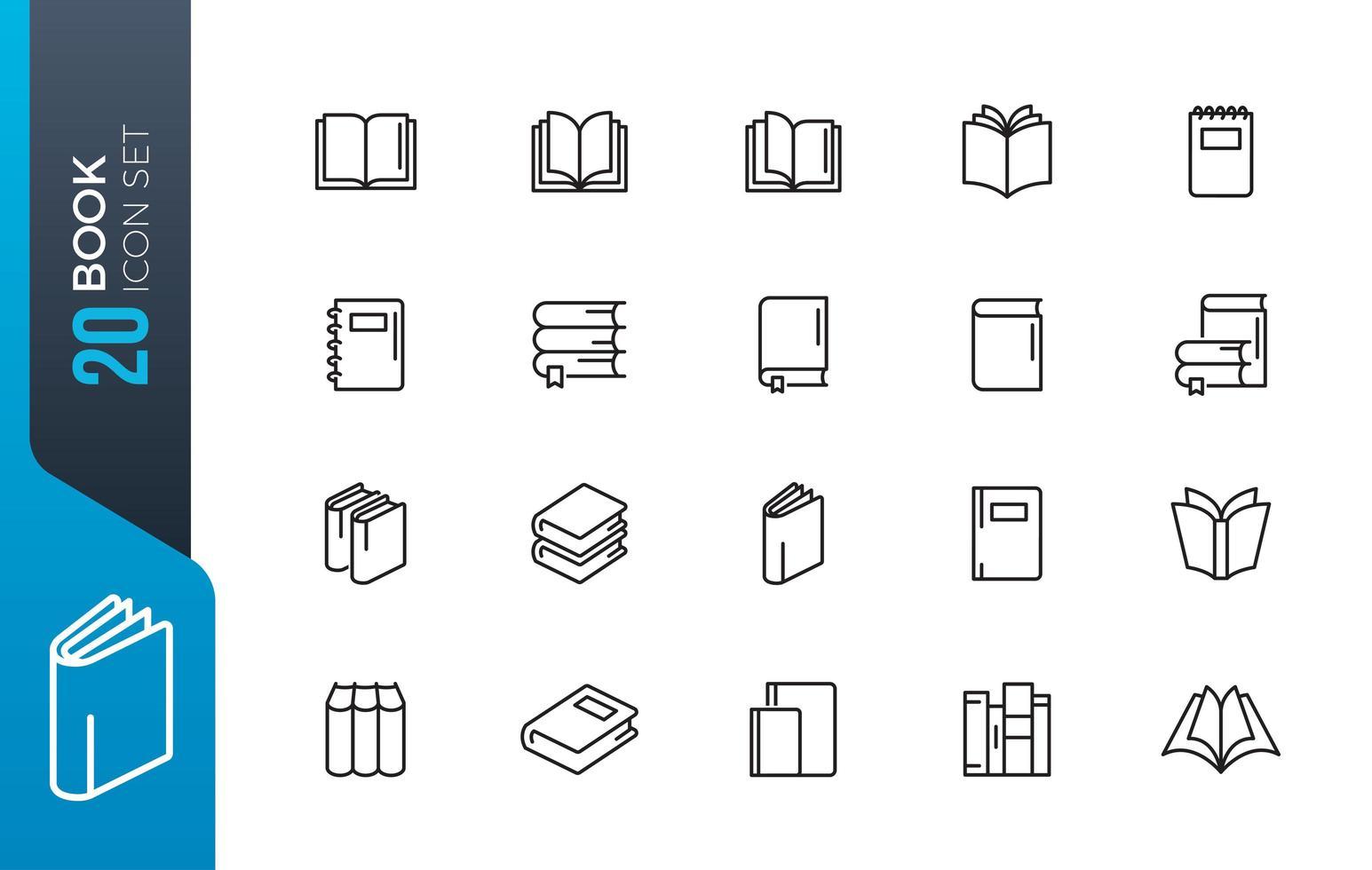 conjunto mínimo de ícones de livro vetor