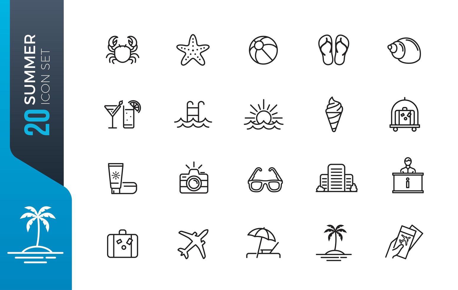 conjunto mínimo de ícones de verão vetor
