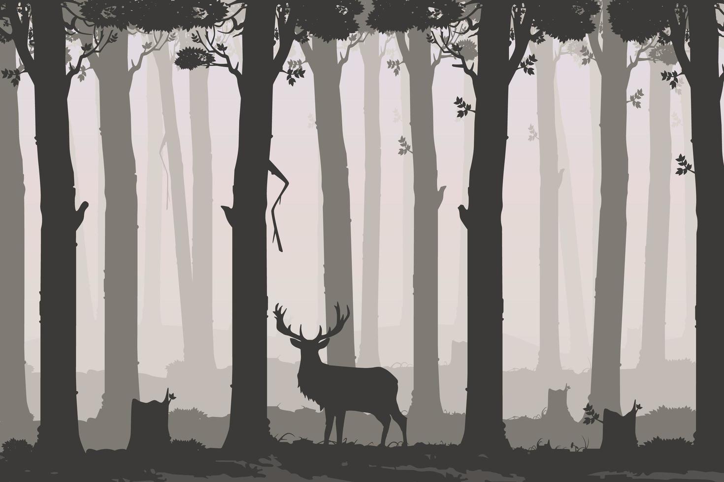 paisagem horizontal com floresta estacional decidual e veados vetor