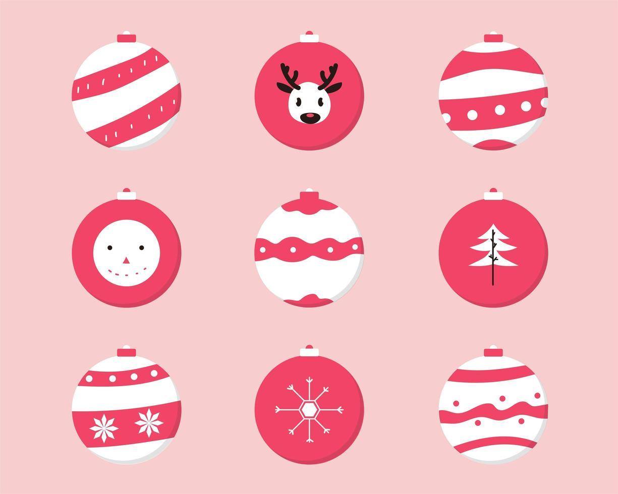 conjunto de enfeites de natal vermelho e branco vetor