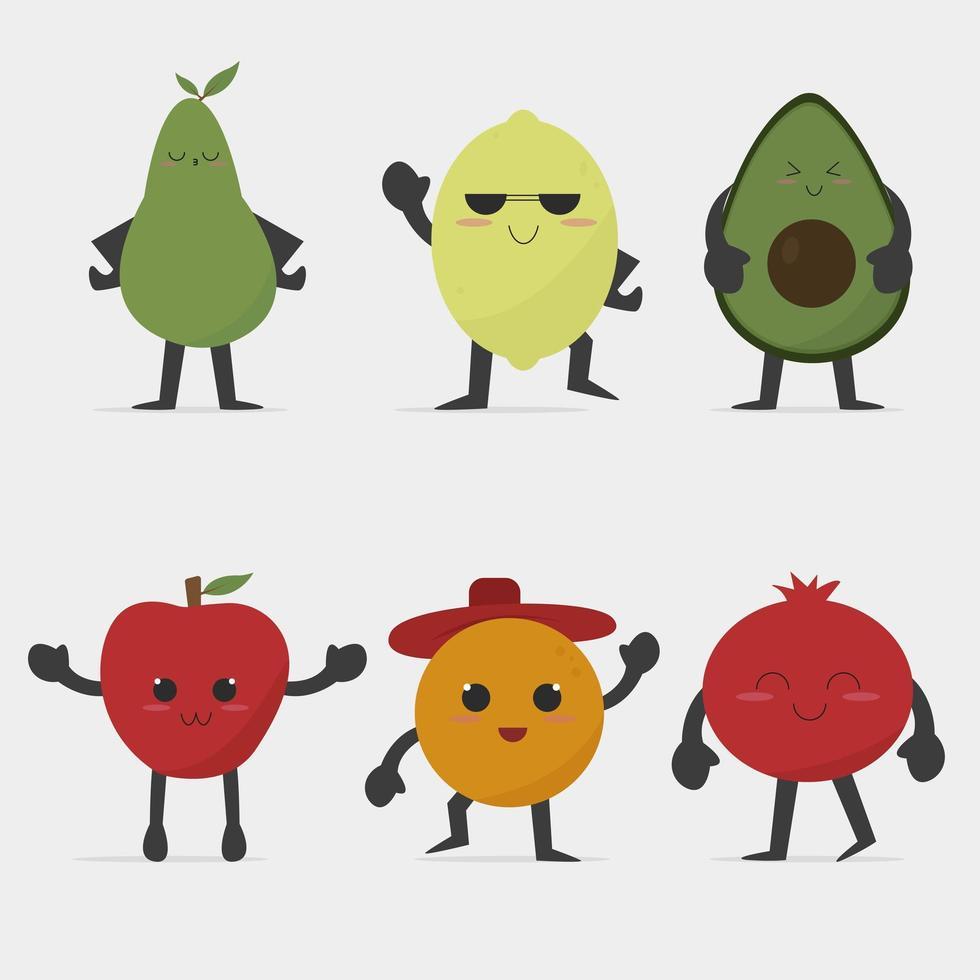 conjunto de frutas kawaii cartoon vetor