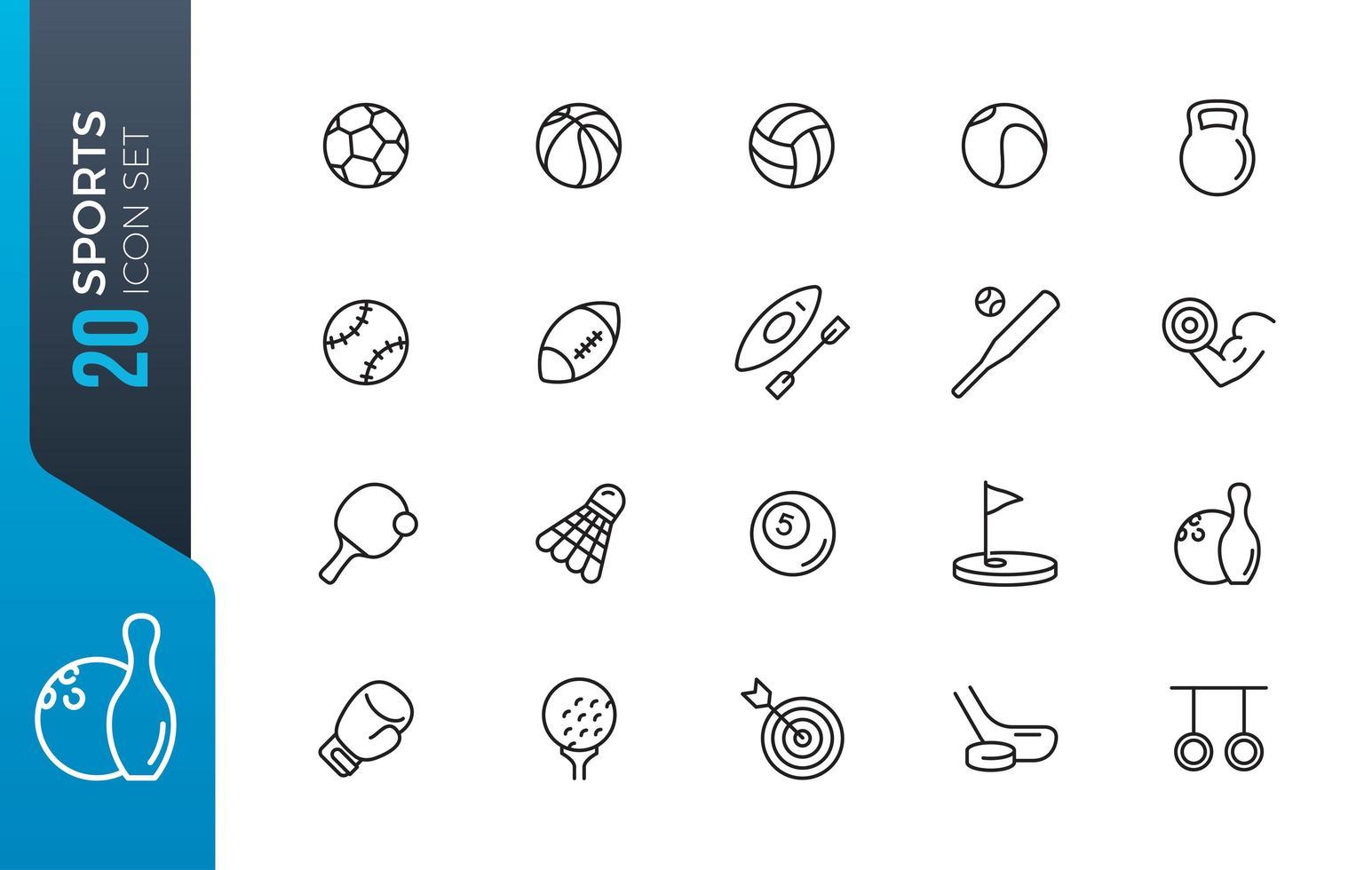 conjunto de ícones de esportes mínimos vetor