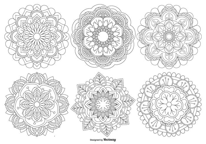 Coleção bonita das formas de mandala vetor
