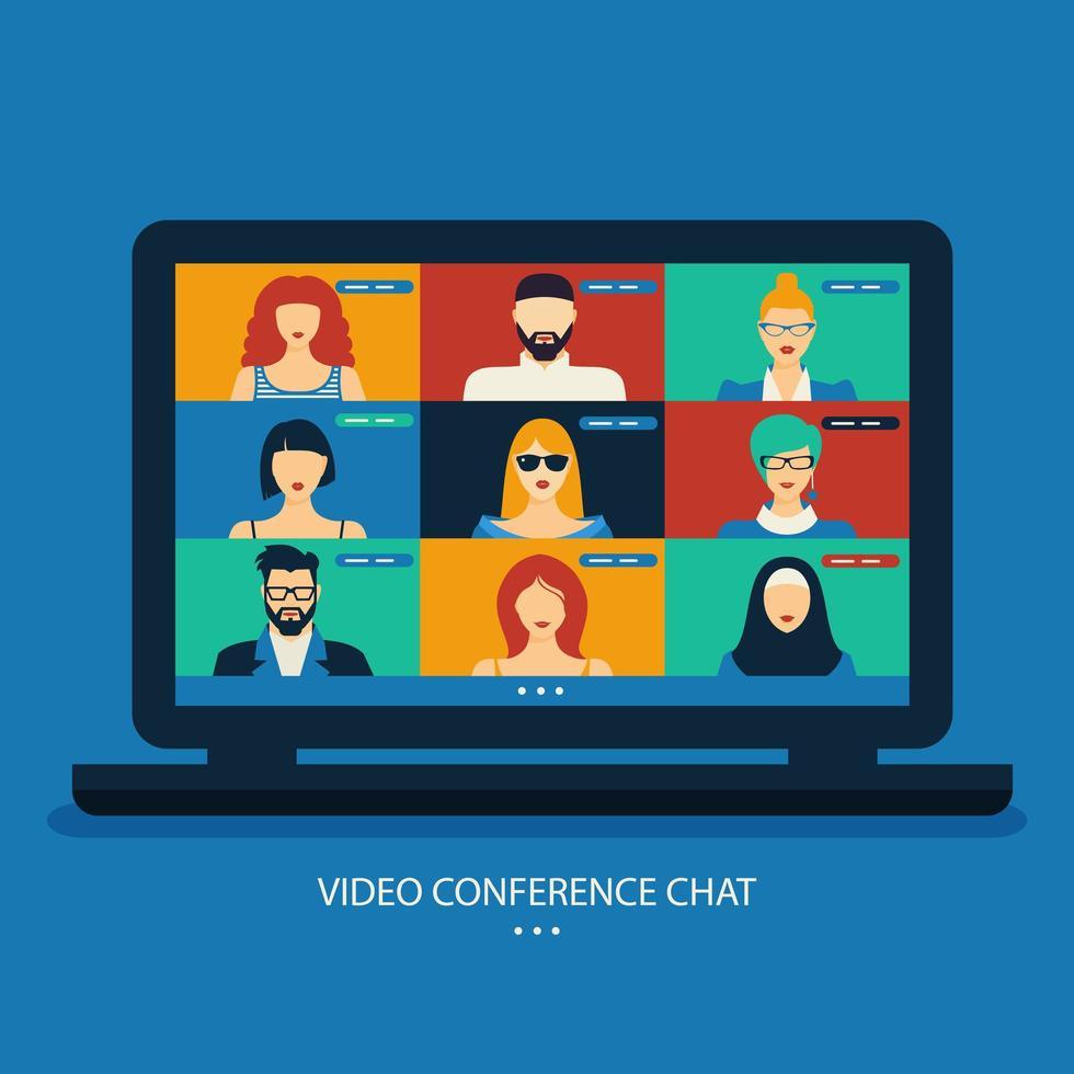 chat de videoconferência no design de laptop vetor