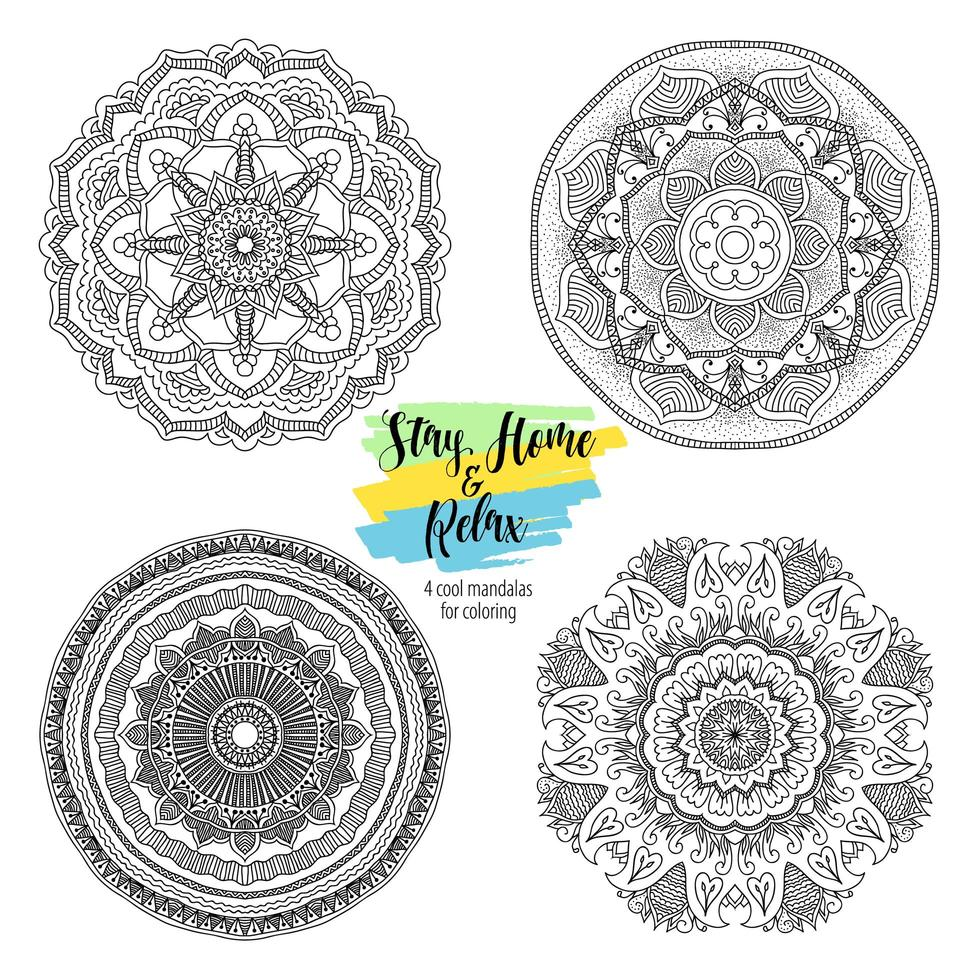 Mandala redonda ornamentos florais vetor