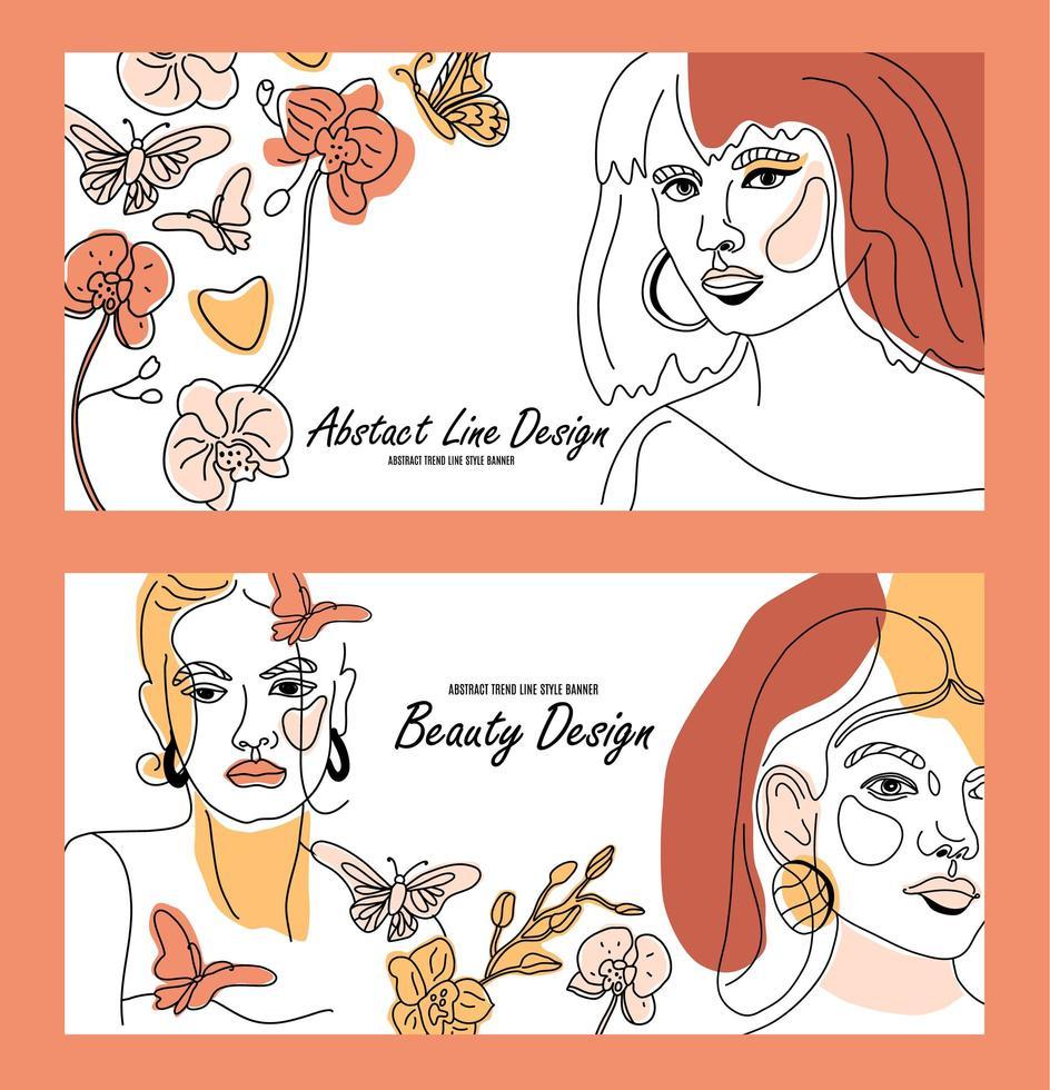 conjunto de rostos femininos, faixas de estilo de linha mínimo vetor