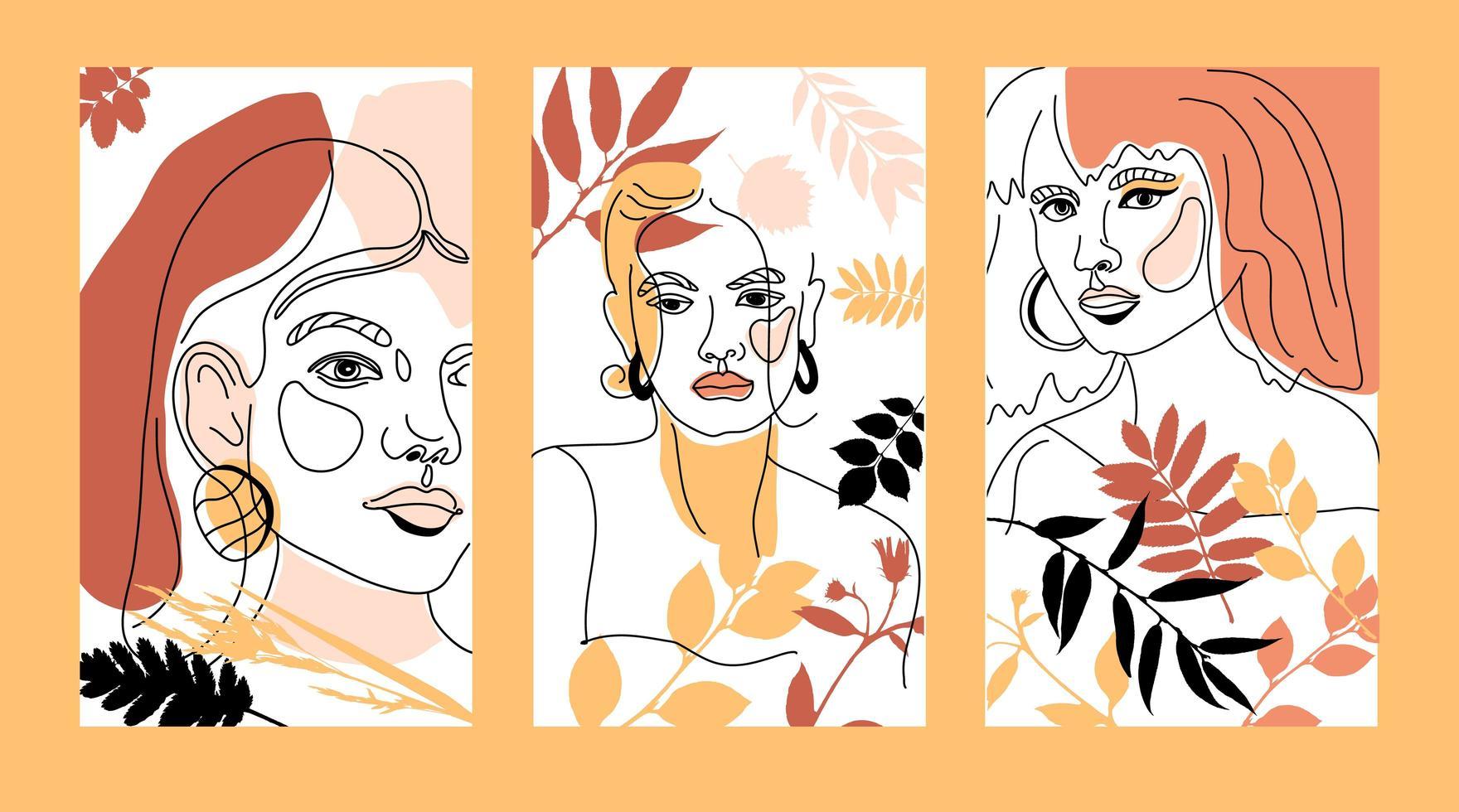conjunto de rostos femininos, cartões de estilo de linha mínimo vetor