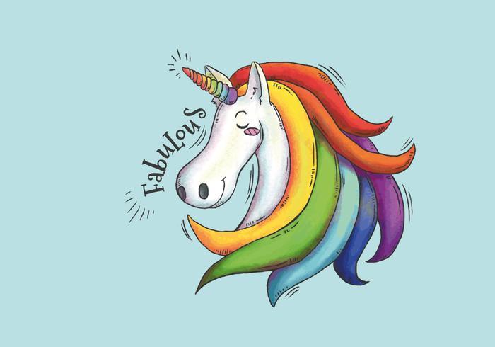 Cute Imagine Unicorn com cabelos longos e coloridos vetor