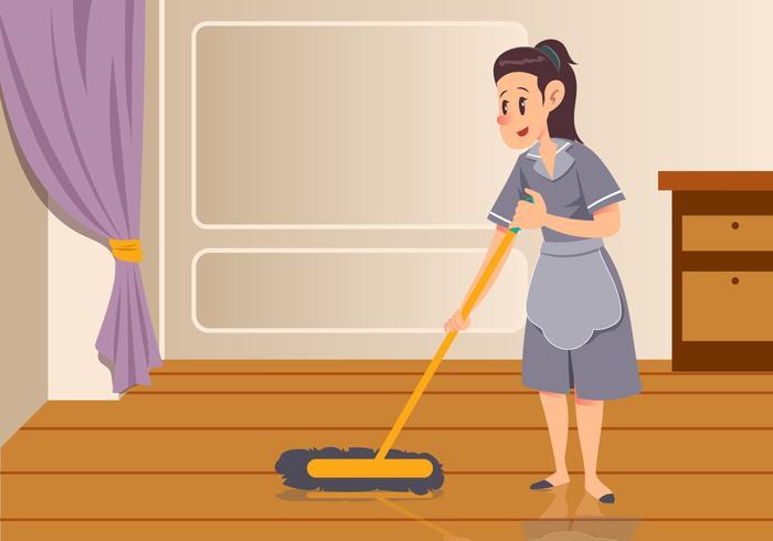Maid Sweeping Floor Vector