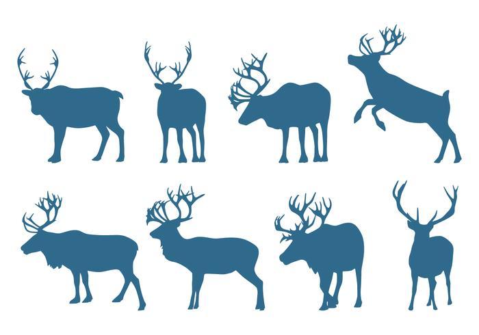 Silhuetas de coleção de cervos vetor