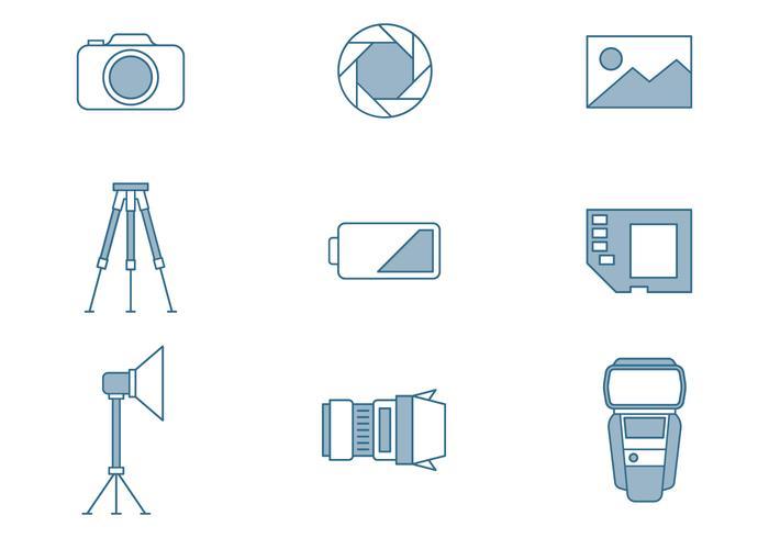 Ícones de fotografia vetor