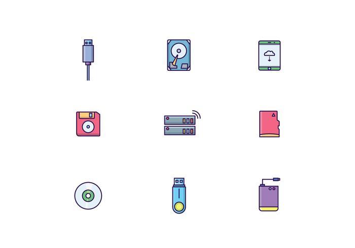 Ícones de dispositivos de armazenamento vetor