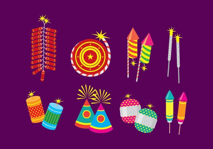 Ícones fixos do cracker de fogo de diwali vetor